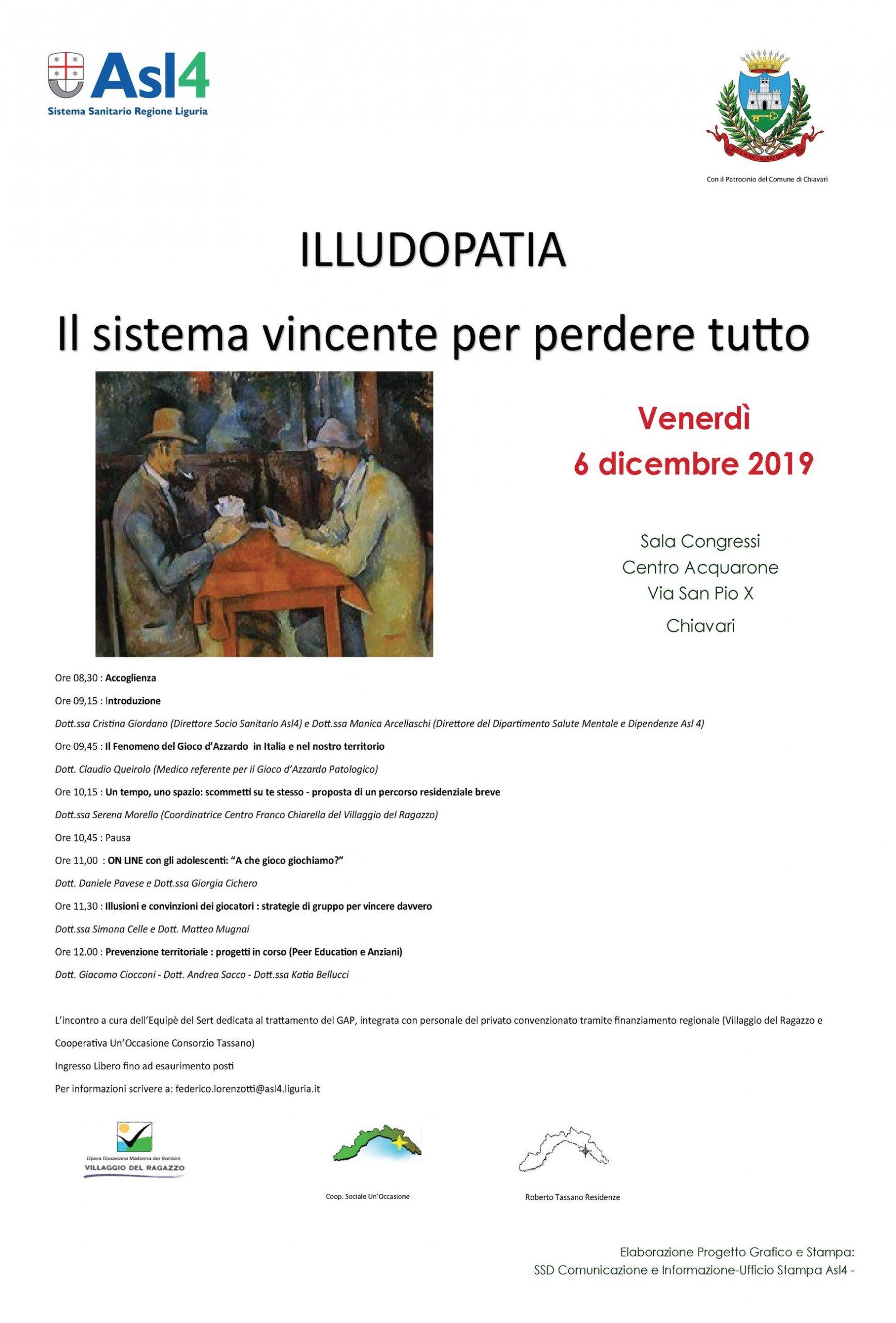 """Convegno """"Illudopatia: il sistema vincente per perdere tutto"""" venerdì 6 dicembre 2019 al Centro Acquarone"""