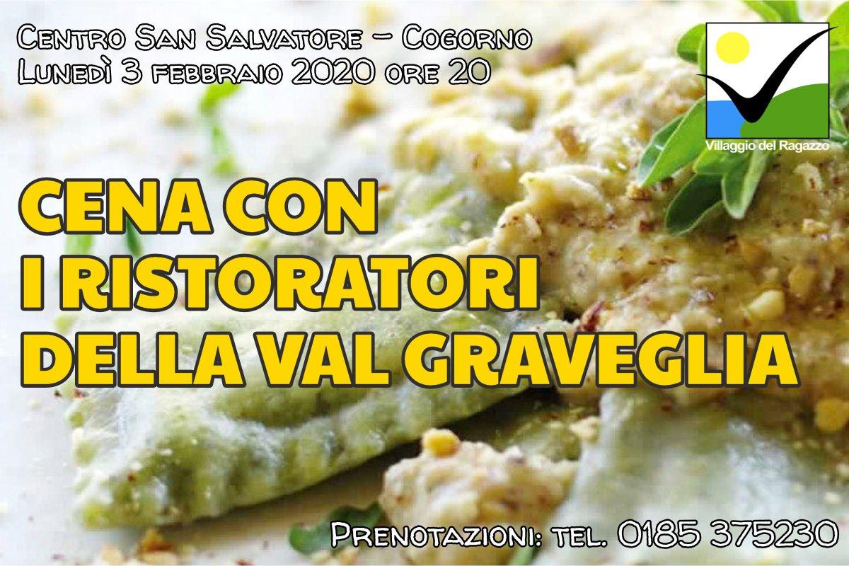 Cena con i ristoratori della Val Graveglia al Villaggio del Ragazzo lunedì 3 febbraio 2020